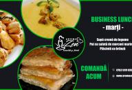 aroma zen business lunch s4 marti Supa crema de legume + Pui cu salata de morcovi marinati + Placinta cu branza